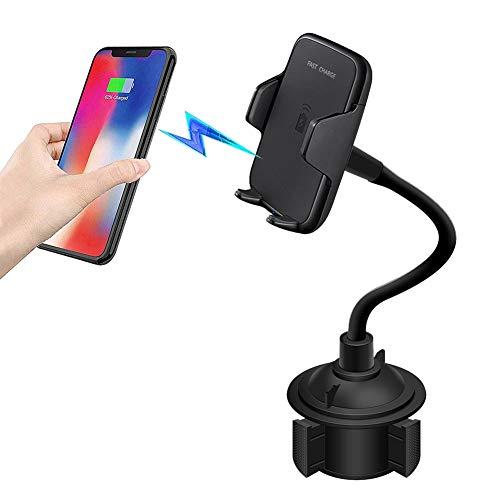 Elekpopu Wireless Charger Auto Handyhalterung Getränkehalter, Universal 360° Drehbare Einstellbare Schwanenhalsschale KFZ Handyhalter Kompatibel mit iPhone XS Max Android für Limousine, SUV