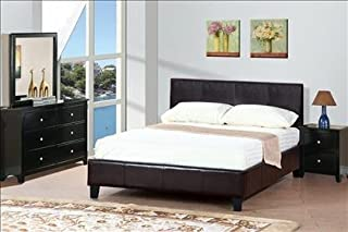Poundex queen faux leather bed frame (Twin, expresso)