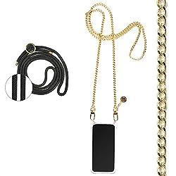 Jalouza® Kette + Kordel, Handykette kompatibel mit Apple iPhone X/XS, Gliederkette in Farbe Gold mit Handy Hülle zum Umhängen + Schwarze Kordel als Extra-Band, Designed in Berlin