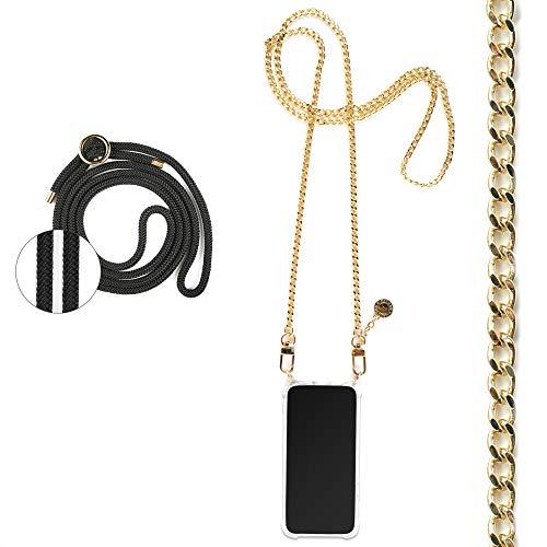 Jalouza Kette + Kordel, Handykette kompatibel mit Apple iPhone 6 Plus / 7 Plus / 8 Plus, Gliederkette in Farbe Gold mit Handy Hülle zum Umhängen + Schwarze Kordel als Extra-Band