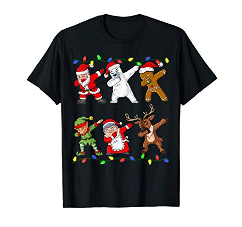 Christmas Dabbing Santa Elf And Friends Boys Kids Dab Xmas T-Shirt