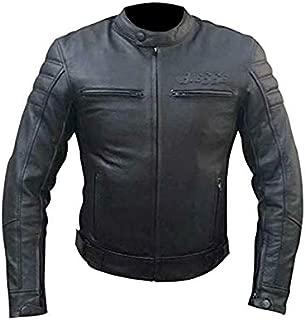 BIESSE - Chaqueta de piel para moto Vintage Café Race, con protecciones CE extraíbles 3XL Negro