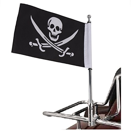 Motorrad hinten Seite Mount Flagge Pole Skull Flagge für Harley Sportster XL 883 1200 48 Gepäck Rack Totenkopf Flagge