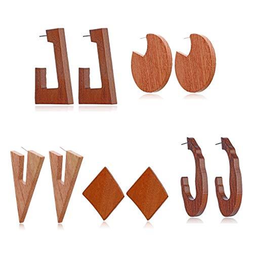 MYhose 5 Pares de Pendientes llamativos geométricos de Madera Natural Pendientes Colgantes de Madera étnica Set Pendientes de Moda Marrón