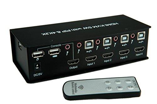 Value 14993337 HDMI 4K2K USB 20 KVM Audio Switch mit USB Hub 1 User 4 PCs schwarz