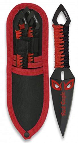 VIKING GEAR® Dead Pool Wurfmesser mit Codura Holster - Throwing Knifes - Outdoor Hunting - Survival Gear - Prepper - Freizeitmesser - schnelles Werfen - Trainingsmesser - Messer schwarz, rot