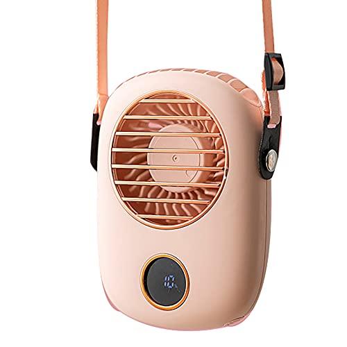 BRZP Mini Ventilador Portátil USB, Ventilador de Cordón 3 En 1 Ventilador de Mano Ventilador de Cintura con Pantalla LED Funcionamiento Silencioso para Oficina En Casa Al Aire Libre