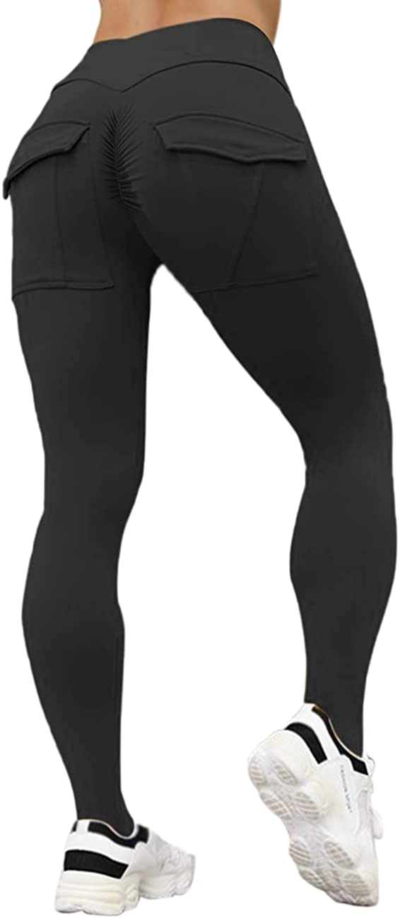 CCHLQLZ High Waist Athletic Leggings with Pockets Butt Lifting Booty Workout Leggings Tummy Control Squat Proof Yoga Pants : Sports & Outdoors