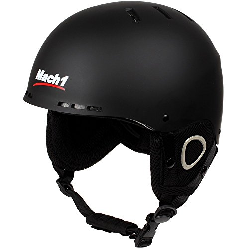 Mach1® Ski/Snowboard Helm, Skihelm, Ski Snowboardhelm Schwarz-matt (54-57cm (M))