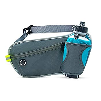 HLNIAO Running Belt with Water Bottle Holder for Men and Women Waist Pack Hydration bag work for Outdoor Activities Hiking Running Fitness Cycling Camping Marathon with Headphone Hole Blue