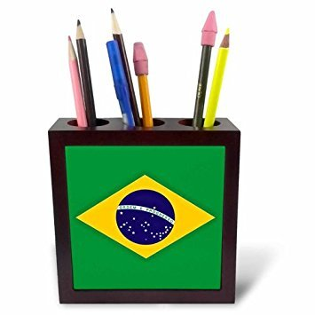 3drose PH 37603 1 Braziliaanse vlag. Bestel en Progress in Brazil-tile penhouder, 12,7 cm