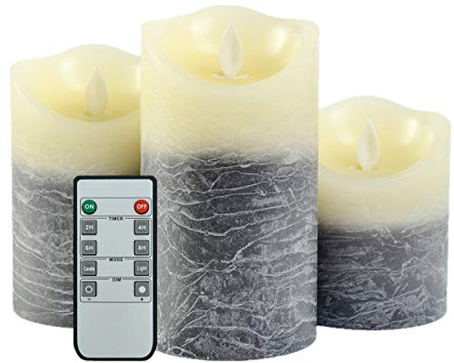 Iovin Water Wave Grain Flameless Candles Set of 3.15' (Size:4' 5' 6') Battery Operated LED Pillar Candles with Moving Flame Wick Timer,Wave Top(Black&Ivory)
