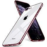 iPhone SE ケース 第2世代 iPhone 8 ケース iPhone 7 ケース クリア 透明 TPU 全面クリア シリコ 軽量 耐衝撃 全面保護カバー レンズ保護 ストラップホール付き ローズゴールド