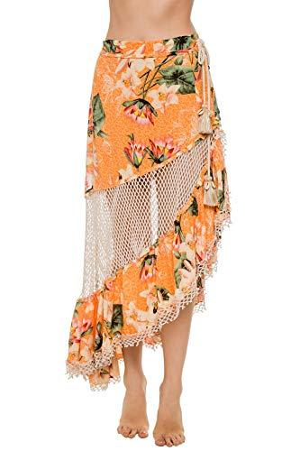Z & L Europe Women's Wovens Floral Maxi Skirt Swim Cover Up Multi M