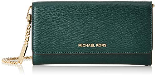 Michael Kors dames Large Two-tone Leather Convertible Chain Wallet portemonnee, meerkleurig (cng Grn Mlt), 3,8 x 10,1 x 19,7 cm