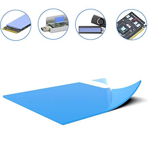 Silikon Wärmeleitpad ausgezeichnete Alternative zu Wärmeleitpaste 6W/mk, Plastizität, geringe Viskosität, Isolierung, weiches, kühlendes SSD-CPU-GPU-LED-IC-Chipsatz 100*100*1,5 mm Blau (1 Stück)