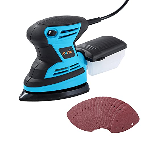 KATSU Mouse Detail Electric Sander, 200W with Dust Collection System, 20Pcs Sheet Sandpapers