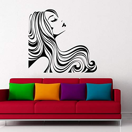 Mujer etiqueta de la pared chica con pelo largo etiqueta de vinilo belleza salón de belleza arte de la pared calcomanía de moda peluquería mural 42x45 cm