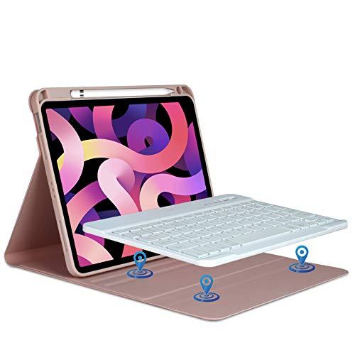 Custodia Tastiera per iPad 10.9 2020, Tastiera Italiana Bluetooth Senza Fili Staccabile per iPad Air 4th Gen 10.9 2020/iPad pro 11 pollice 2018 con Custodia Magnetico con Slot per Penna (Champagne)