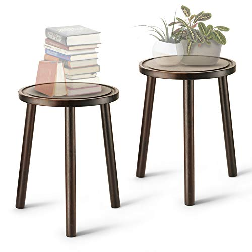 """LITADA Wood Plant Stands (Set of 2) Mid Century Small Side Table, 15.8'' Tall – Round Side End Table Flower Pot Holder Home Decor (Plant and Pot NOT Included) (15.8"""", Walnut)"""