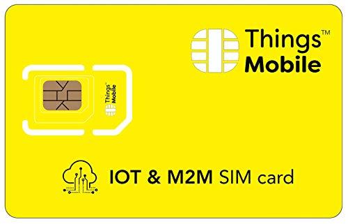 PREPAID-SIM-Karte für IOT (INTERNET OF THINGS) - Things Mobile - mit weltweiter Netzabdeckung und Mehrfachanbieternetz GSM/2G/3G/4G. Ohne Fixkosten und ohne Verfallsdatum. 10 € Guthaben inklusive