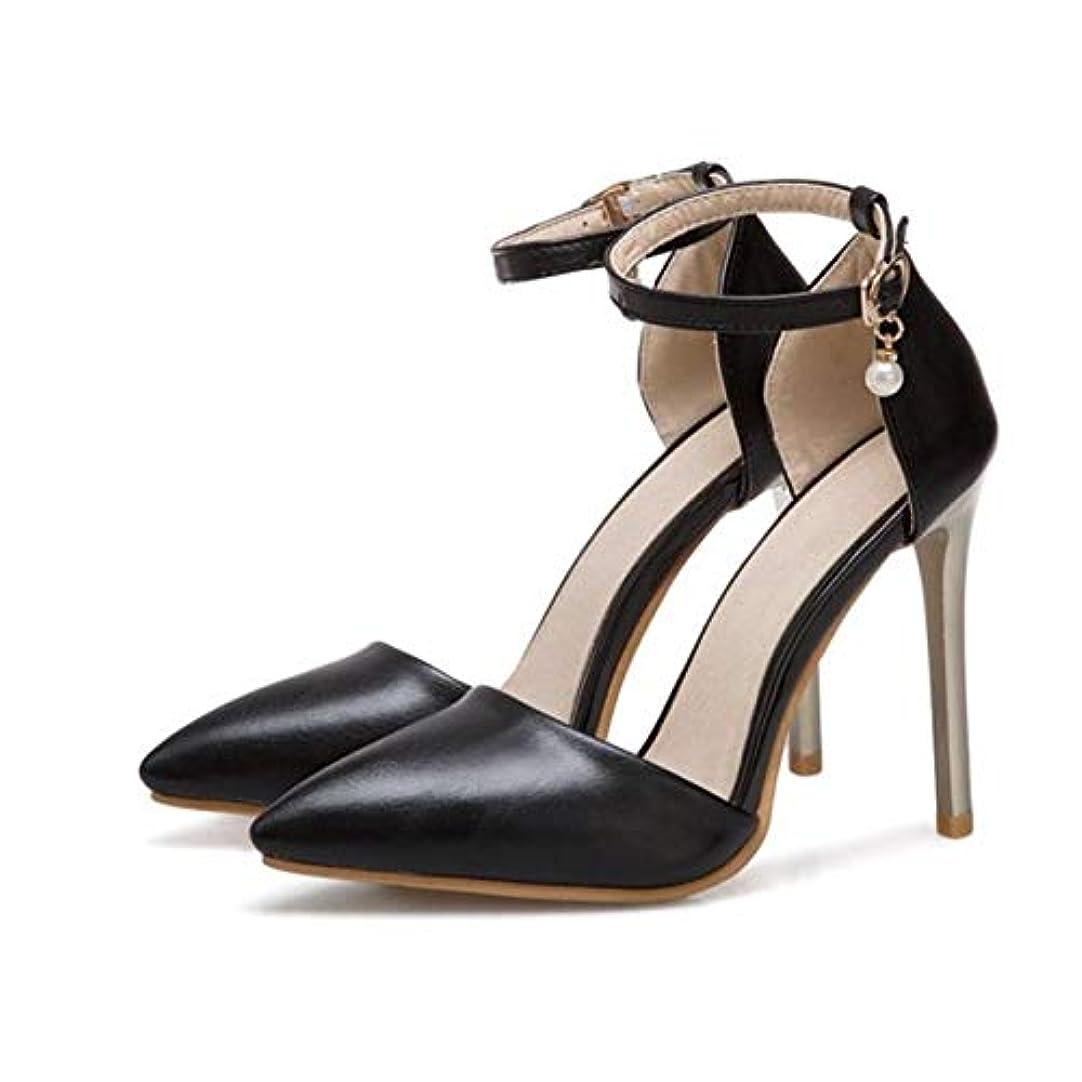 [AHZHDXZM] レディーススティレットファッションスモールビッグサイズ31-50サンダル夏ウェディング花嫁靴女性??パーティーレディースパンプス4黒女性用ハイヒールヒール