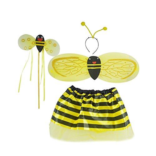 Disfraz de baile para fiesta de festival, disfraz de cosplay para niñas con diadema de alas, falda de 4 unidades, color amarillo