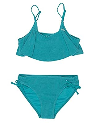 Roxy Girls' Big Sandy Flutter Swimsuit Set, Pagoda Blue, 10