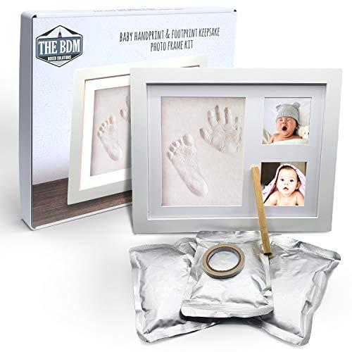 TheBDM Cornice impronte neonato | Kit con argilla per calco mani e piedi in 3D e cornice in legno con scatola regalo (Bianco)