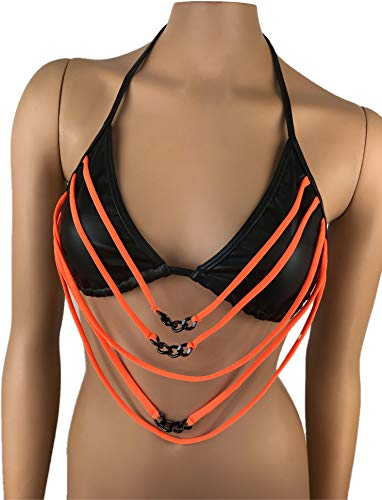 Exotic Dancewear Triangle Bikibi Top Rave Outfits Stripper wear Club wear Pole wear Glow in the Dark Beach wear Swimsuit Swimwear Bra