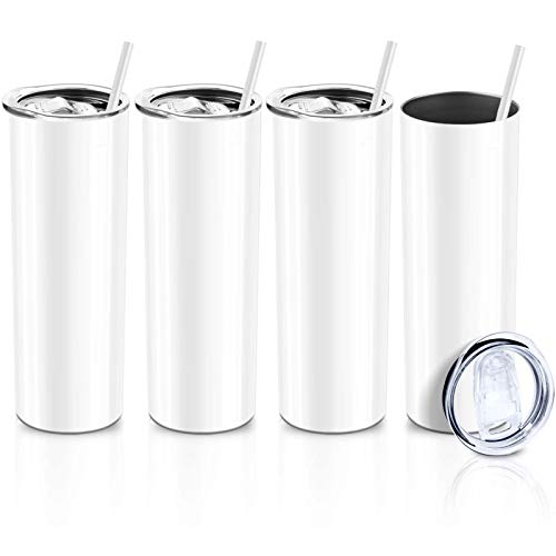 XccMe 30 oz Skinny Stainless Steel Tumbler,Double WallSlim Insulated Tumbler with Lid, Skinny Cups with Straw, for Travel Mug, Coffee, Tea, Beverages (White 4)