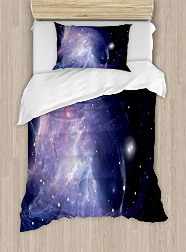 HUNKKY Outer Space Duvet Cover Set, Space Nebula in Galaxy Complex Energy Movements Cosmos Theme Print, Decorative 2 Piece Bedding Set with 1 Pillow Sham, Twin Size, Purple Navy
