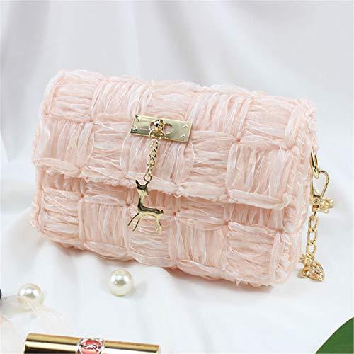 ZB TOP Hand-Woven Woven Yarn Fashion Bag, DIY Chain Bag Ribbon Yarn Mesh Homemade Shoulder Messenger Bag - DIY Your Own Shoulder Bag Pink