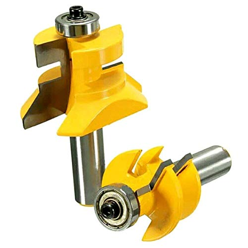 DBoyun V-Notch Wainscotting and Flooring Matched Tongue and Groove Router Bit Set with Edge Banding 1/2-Inch Shank