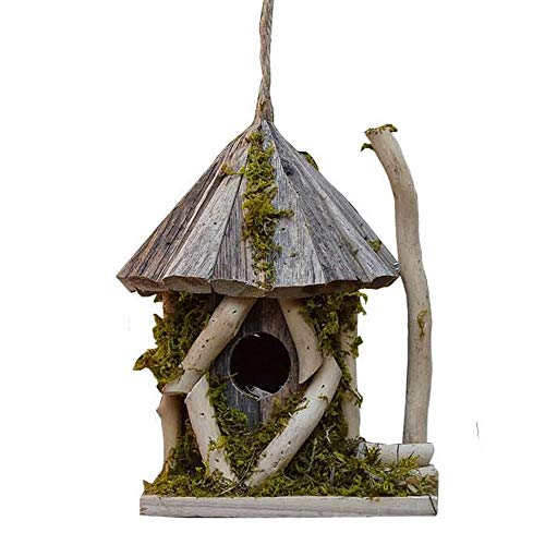 GFDE Pajarera Casa del pájaro de Madera Techo Inclinado Nido de cría Caja decoración del jardín Adorno de jardín (Color : Natural, Size : 21x19x22CM)