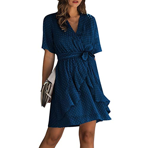 Petalum Damen Sommerkleid Polka Dot V Ausschnitt Minikleid Wickelkleid Kurzarm A Linie Rüschen Strandkleid mit Gürtel