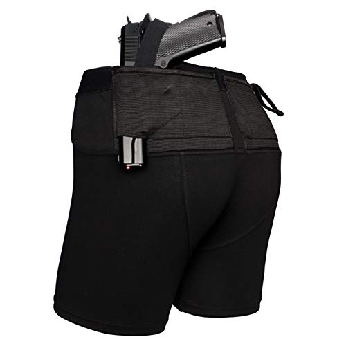 Lilcreek Men's Concealment Shorts, Gun Holster Shorts/Briefs for Concealed Carry, Concealment CCW Clothing with Two Pistol Pockets BlackX-Large