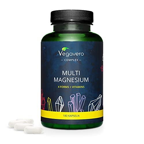 Magnesio Complex Vegavero® | Citrato + Bisglicinato + Taurato + Malato | Sales Minerales + Electrolitos + Cansancio | Sin Aditivos y Vegano | Con Vitamina B6 + B2 | 180 Cápsulas
