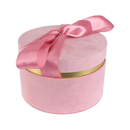 VILLCASE Runde Geschenkbox mit Deckel Luxus Zylindrische Verpackung Blume Papierbox mit Band Bowknot für Hochzeitstage Valentinstag Rosa