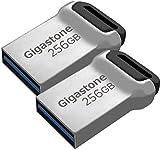Gigastone Z90 [2-Pack] 256GB USB 3.1 Flash Drive, Mini Fit Metal Waterproof Compact Pen Drive, Reliable Performance Thumb Drive, USB 2.0 / USB 3.0 Interface Compatible