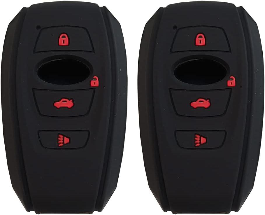 4-Button Car Silicone Keychain Protective Cover, Suitable for Subaru 2015 2016 XV Crosstrek, Outback 2015 2016 XV Crosstrek Impreza 2014-2017 BRZ 2016 WRX(2 Pack Black)