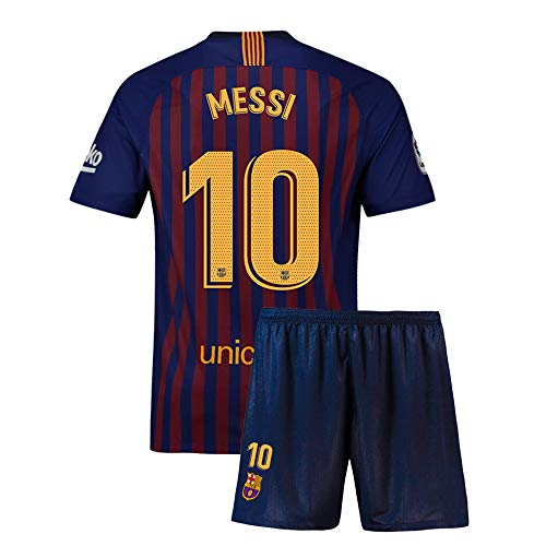 Wiflsur Kids Messi Jerseys 10 Soccer Shorts Athletic 2018/19 Youth Barcelona Blue (M=24(7-8Years Old))