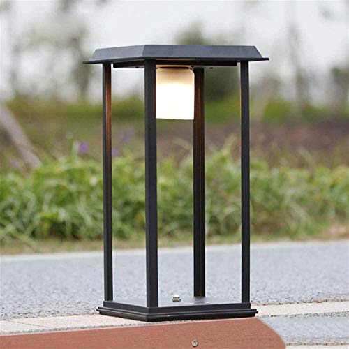 KTZAJO Luz de columna de liquidación fiable Lámpara solar de pared Lámparas de pared de aluminio simple Azulejo LED paisaje Villa césped (color: negro, tamaño: 400 mm) (color: negro, tamaño: 400 mm)