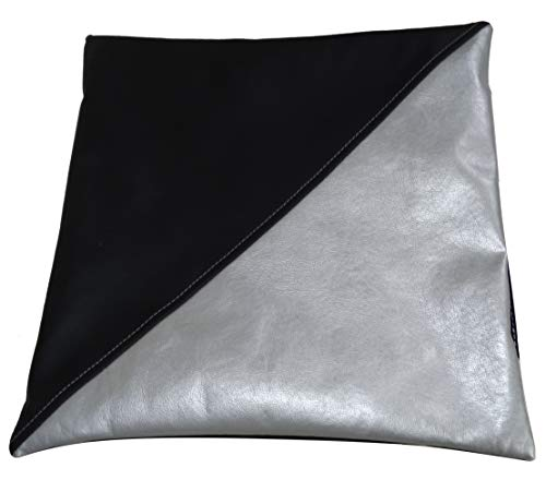 AERZETIX - Funda de Almohada Decorativa o de Cojín para Silla - Negro/Gris - Cuadrado 35/35cm - Piel sintética - C43953