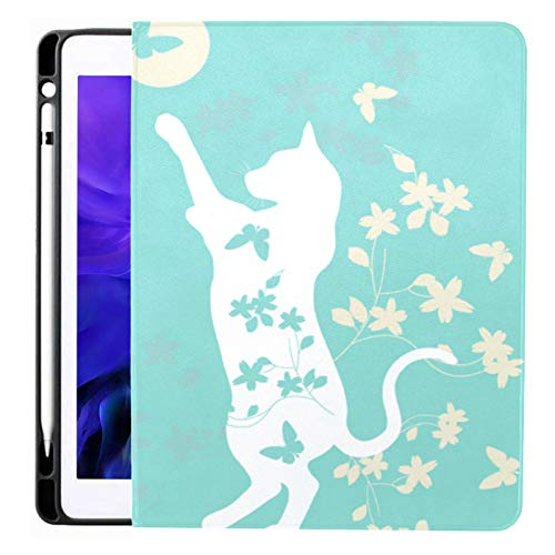 Ipad Pro 12.9 Case 2020 & 2018 with Pencil Holder Two Cats Playing Ball Floral Funny Smart Cover Ipad Case, Supports 2nd Gen Pencil Charging,case for 2020 Ipad Pro 12.9 Cover with Auto Sleep/Wake