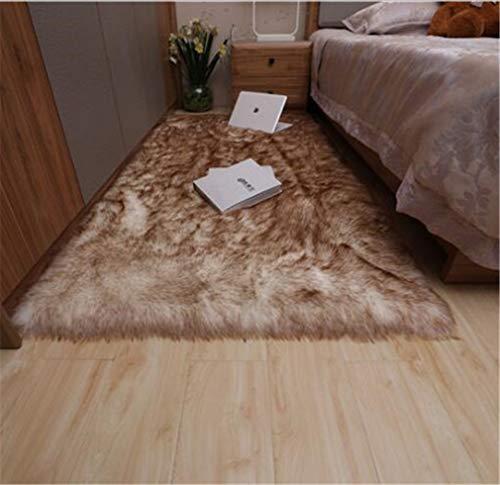 RAILONCH Teppiche Faux Lammfell Schaffell Teppich Kunstfell Bettvorleger Sofa Matte Wohnzimmer Schlafzimmer (Weiß-braun,50x100cm)