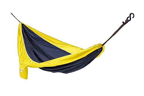 Hammaka Parachute Silk Lightweight Portable Double Hammock, Blue/Yellow