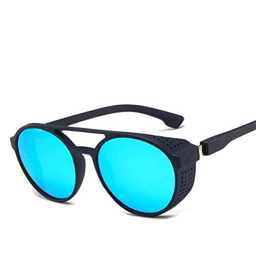 Gafas De Sol Polarizadas Vintage Round Steampunk Sunglasses Men Classic Goggles Car Driving Sun Glasses Oculos Masculino Male Uv400 Blue