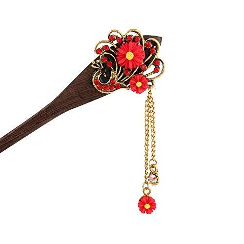 Kentop Femmes Perche de Cheveux Vintage Fourche de Cheveux pour Coiffure DIY 16cm Rouge