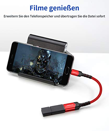 JSAUX USB auf USB-C OTG Adapter 3.1 [2 Pack], USB Typ C OTG Adapterkabel Kompatibel für Samsung Galaxy S20/S20+/S9/S8+/A70/A50/Note 10/9/8, Huawei P30/P20 Pro, Pixel 2XL/3XL, MacBook Pro 2018 Rot